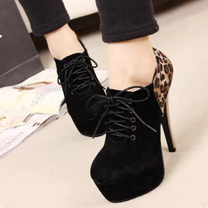 Black And Leopard Print High Heels ..
