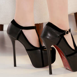 T- Strap Round Toe Stiletto High He..