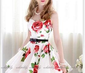Belted Rosy Dress In..