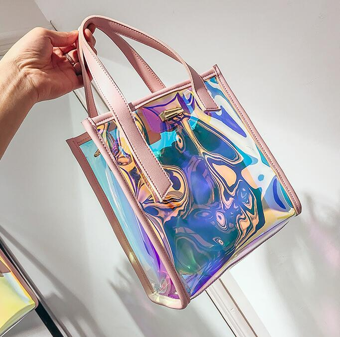 Semi-Sheer Holographic Jelly Square Tote Bag, Shoulder Bag
