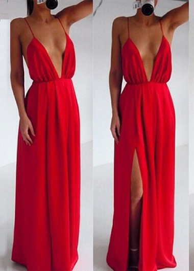 a925298ede Fabulous Deep V Neck Maxi Dress In Red on Luulla