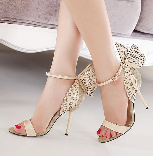 7aead2d39276 Beautiful Wings Design Apricot High Heels Fashion Sandals on Luulla