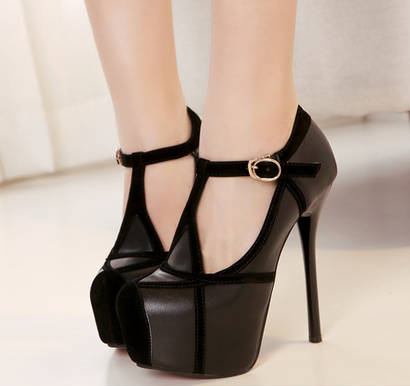 T- Strap Round Toe Stiletto High Heel Pumps with Adjustable Buckle