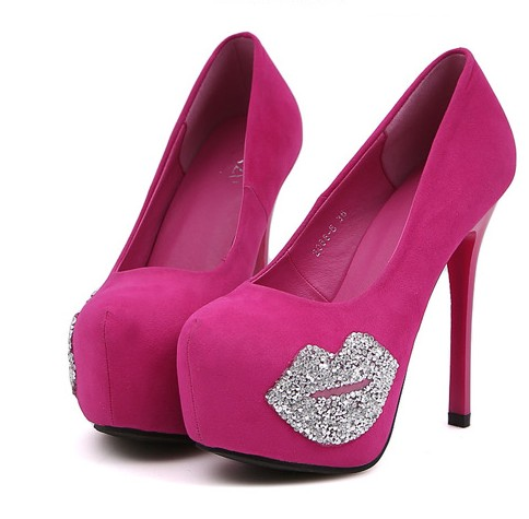 Rose And Black Pink Pumps Heel On Sexy Diamante Luulla High g7ymvYbfI6