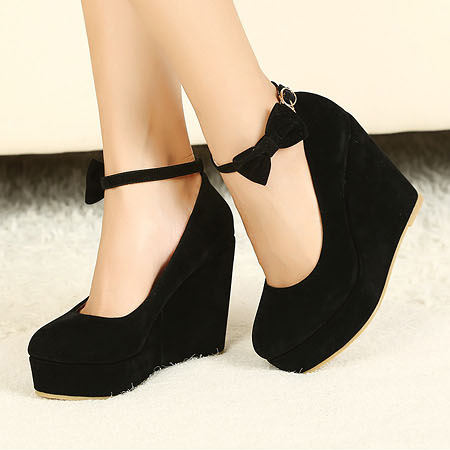 Wedges Black Suede Ankle Strap Pumps on Luulla