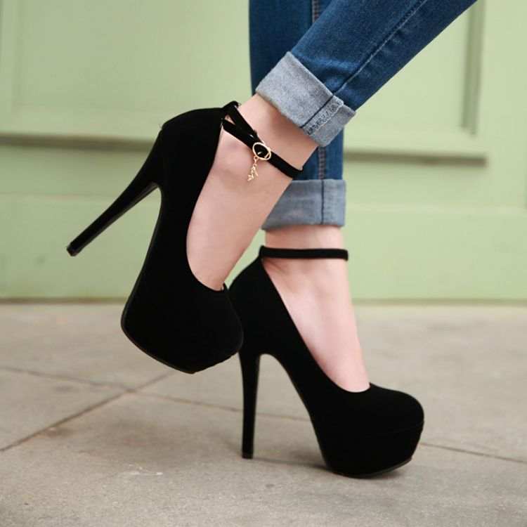 Fashion Round Toe Stiletto Heels Ankle Strap Black Pumps on Luulla
