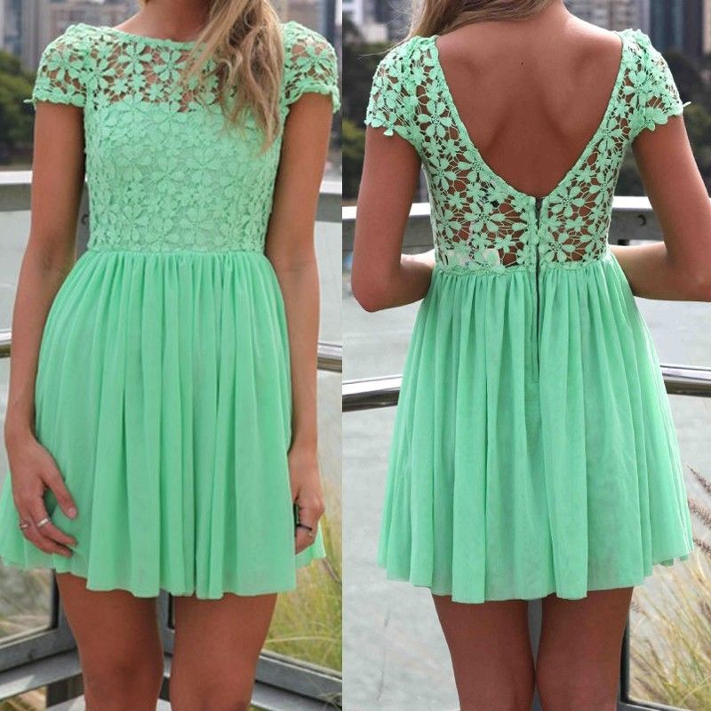 7b1f11475738 Mint Green Women Summer Bandage Bodycon Lace Evening Sexy Party Cocktail  MINI Dress