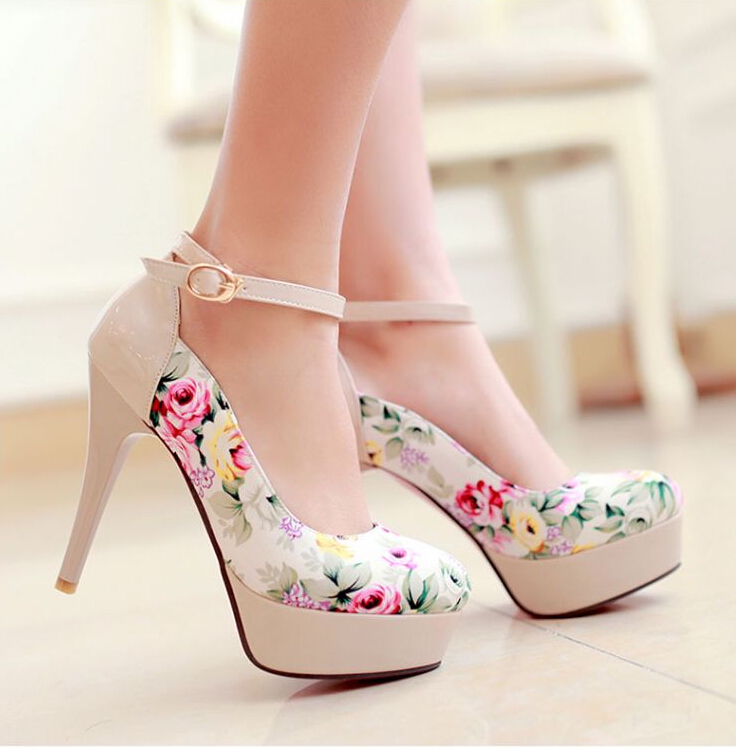 Lovely Flower Print High Heels, Cute High Heels, Women High Heels ...