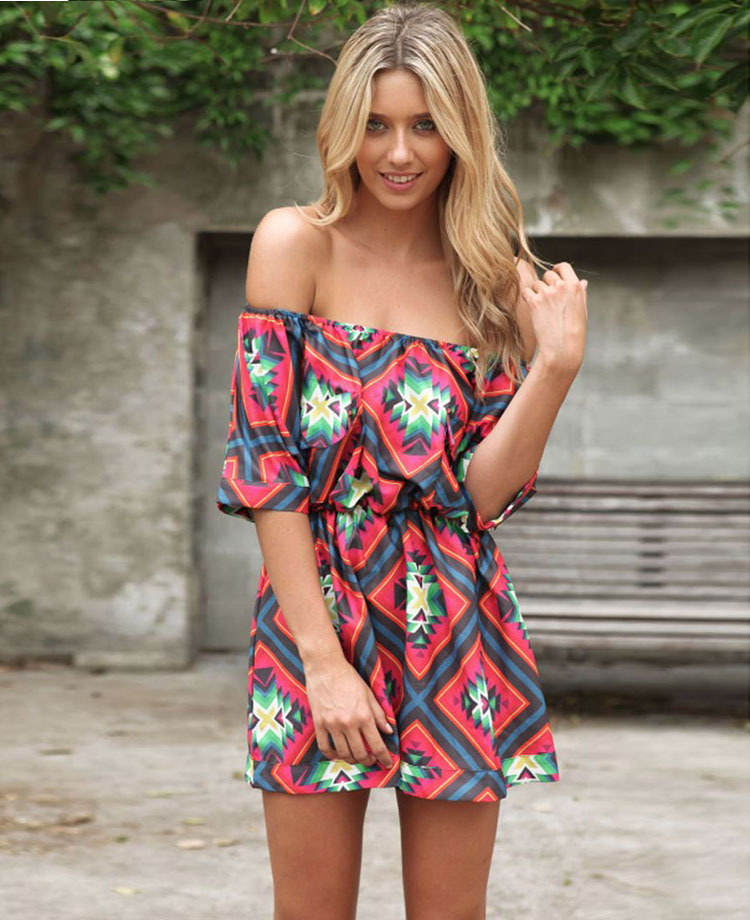 5ac1613a545 European And American Fashion Sexy Slim Short Sleeve Summer Print Dress Bra