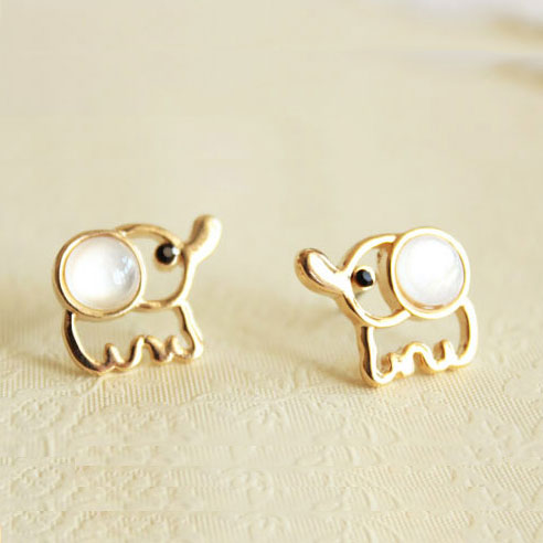 Cute White Baby Elephant Earrings Studs