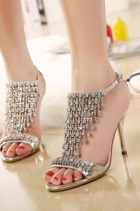 Golden fine with star sandals diamond banquet shoes wedding shoes sexy shoes