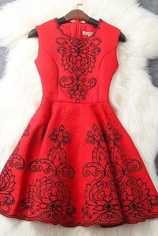 Court heavy wind jacquard embroidery positioning of cultivate one's morality dress-red