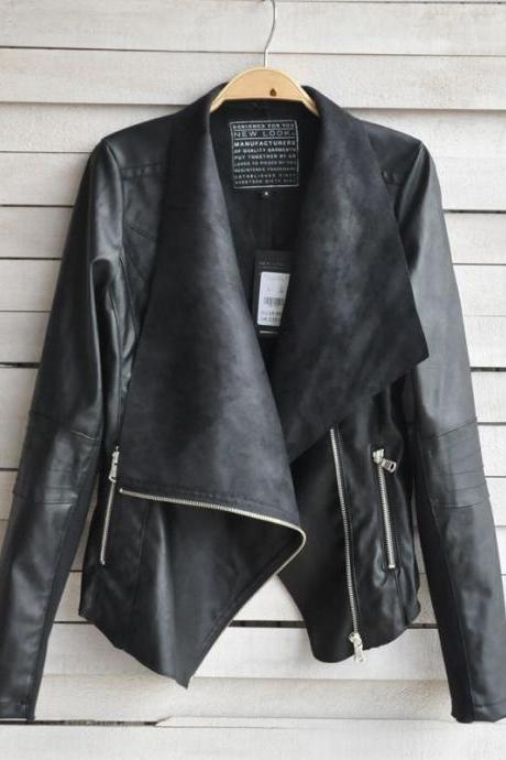 The High-End Custom Leather Female Short Slim Coat