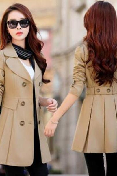 High Quality Alluring Bowtie Decoration Double Breasted Trench Coat For Woman - Khaki