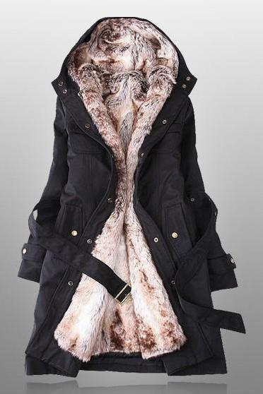 Black Parka With Faux Fur Inner