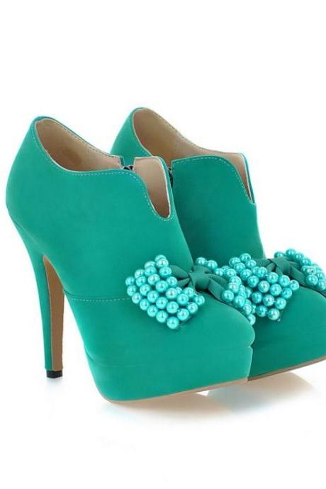 Adorable Bow Embellished High Heels Fashion Shoes