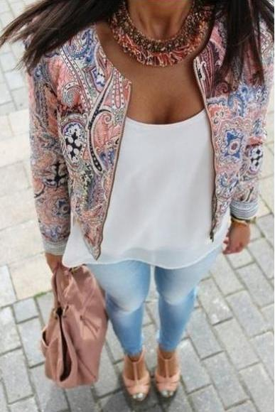 The New Printing Fashion Round Neck Zipper Jacket Jacket