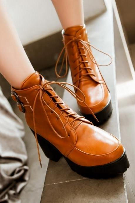Woman Chunky Heel Lace Up PU Boots