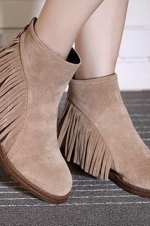 Women's Suede Ankle Boot Flats with Side Fringe