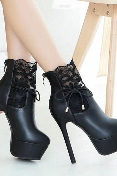 Classy High Heel Fashion Boots With Lace Details