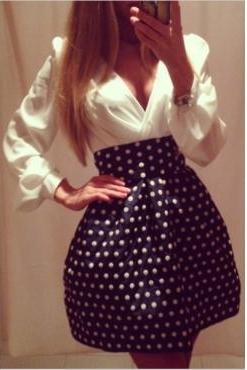 Polka Dot Design Long Sleeve Dress