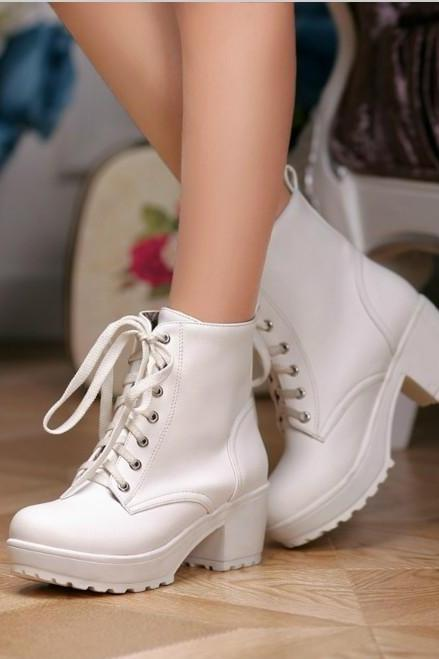 Chunky Heel Lace Up Boots