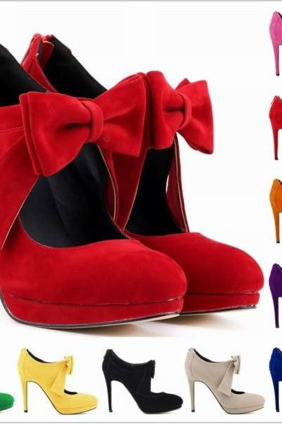 Bow Knot Design High Heels Fashion Shoes
