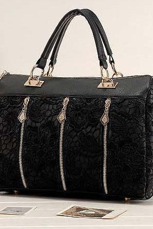 Elegant Black Lace Design Hand Bag