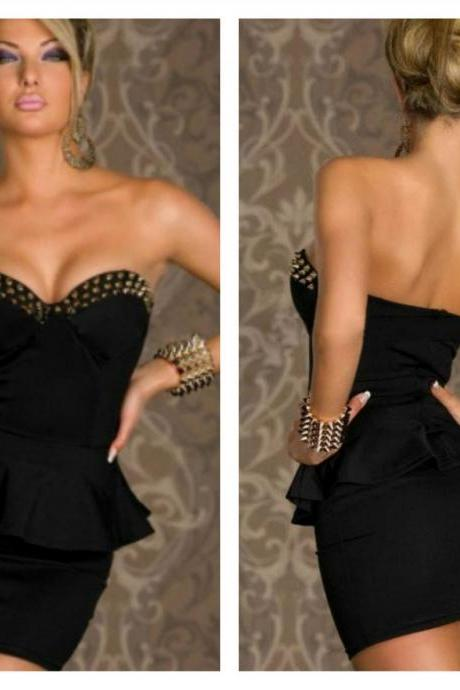 Rivets Black Sexy Peplum Dress