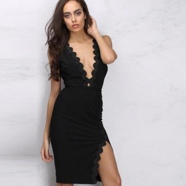 Summer fashion corrugated backless sexy V-neck dress