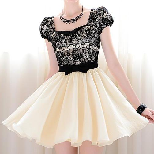 Vintage Sweetheart Neckline Lace Splicing Bow Short Sleeves Dress For Women