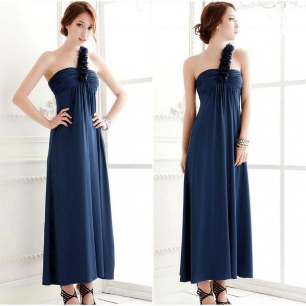 One Shoulder Chic Pleated Blue Long Dress