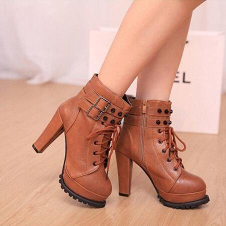 Sexy Brown Rivets Design High Heel Ankle Boots