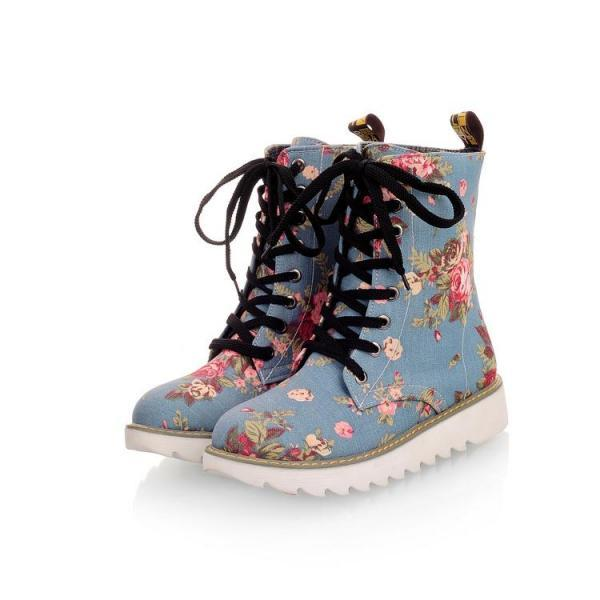 Beautiful Floral Design Martens Boots