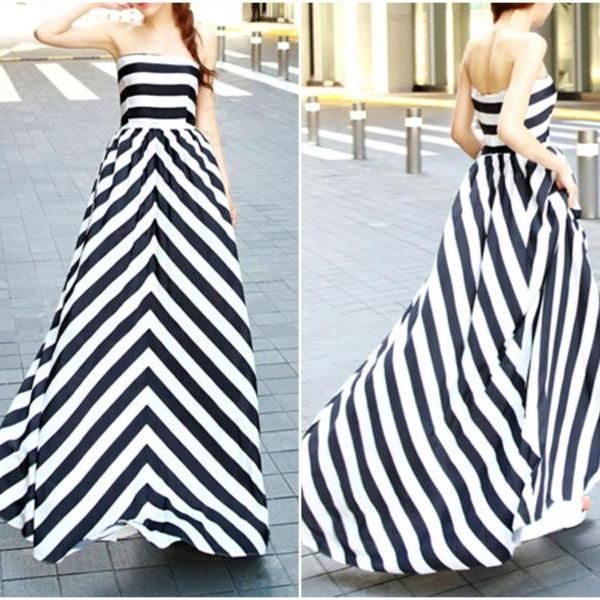 Black And White Stripes Off Shoulder Dress