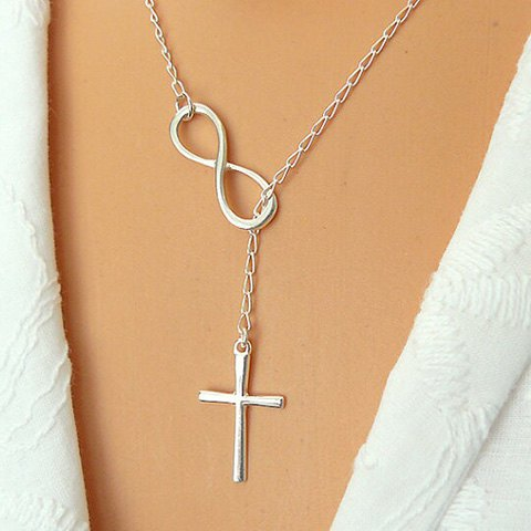 Infinity And Cross Charmed Layered Silver Necklace