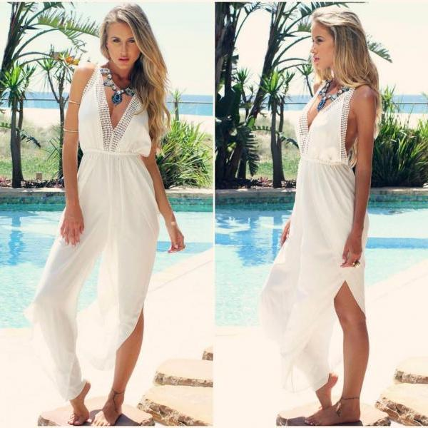 Beautiful V Neck Bohemian White One Piece Jumpsuit
