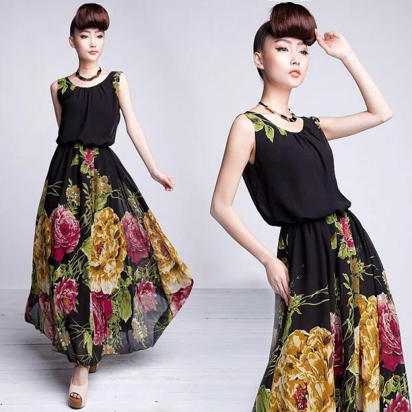 High Quality Black Sleeveless Floral Maxi Dress