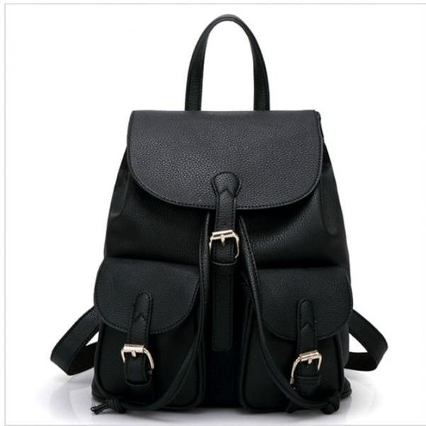 PU Leather Backpack / Rucksack with Pockets