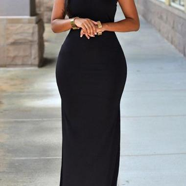 Long Black Goddess Dress