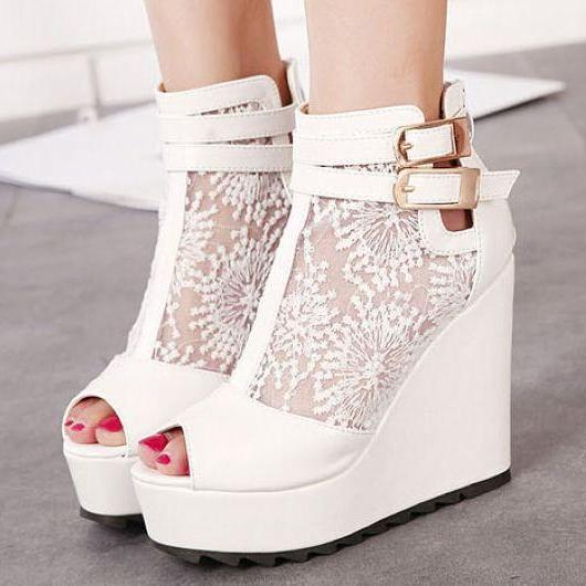 Beautiful White Peep Toe Wedge Shoes